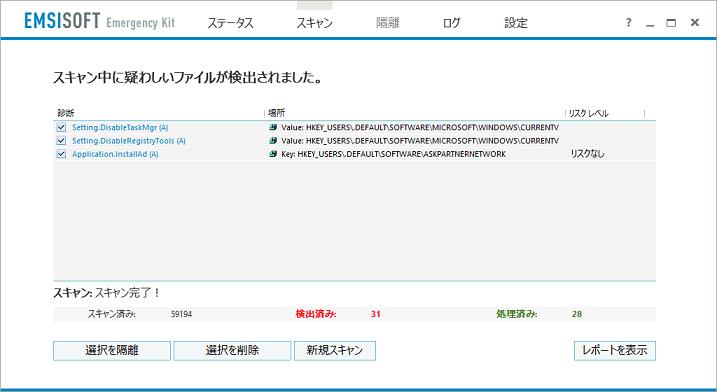 Emsisoftのウイルス検出結果画面