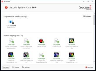 Secunia PSIの管理画面